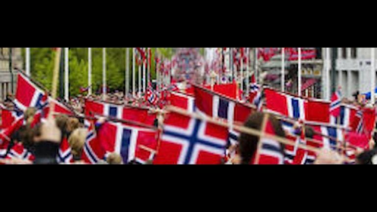 massor med norska flaggor längs en gata 17 maj i Norge