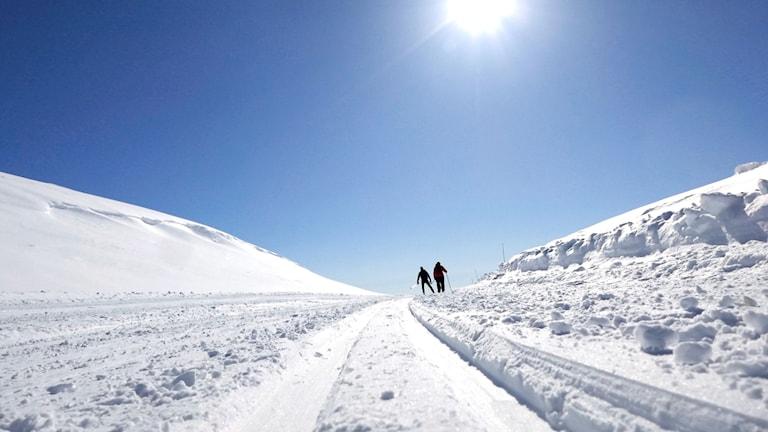 skidspår på ett norskt fjäll med två skidåkare på ett backkrön.