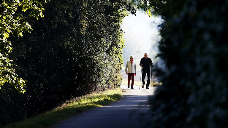 äldre promenerar