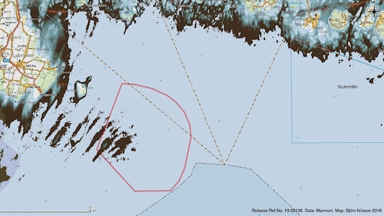 Kartan visar landutbredningen i Hanöbukten och Skåne- och Blekingekusten för omkring 11000 år sedan. Kartan visar bland annat ytterskär inom det planerade exploateringsområdet som idag ligger på ungefär 20 meters sjup.