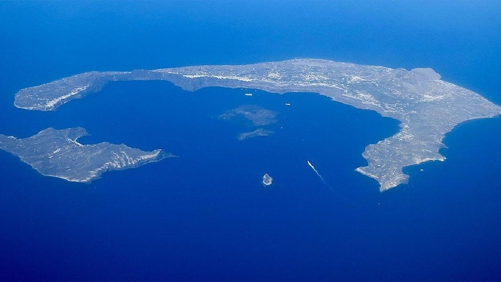 Santorini bild från ovan.