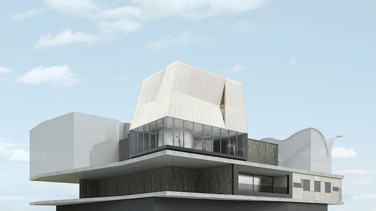 Bild på kommande trevåningshus.