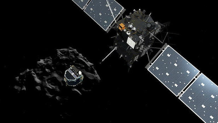 Landaren Philae frigör sig från Rosetta och påbörjar sin färd mot kometen 67P. Foto: ESA
