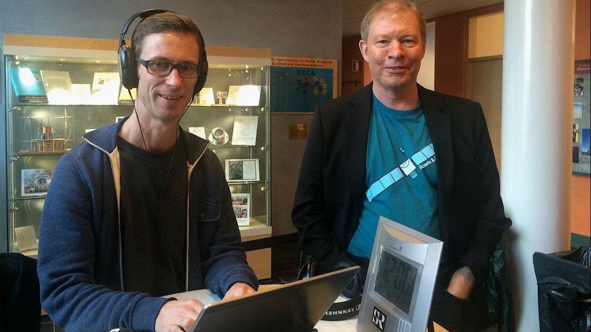 Björn Guner och Anders Eriksson på Ångströmlaboratoriet
