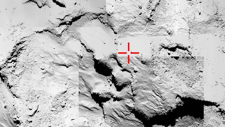 Med ett montage av fem bilder från Rosettas kamerasystem Osiris ska söks Phileas nedslagsplats. Foto: ESA