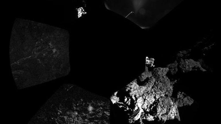 Philae har skickat den första panoramabilden från kometen.