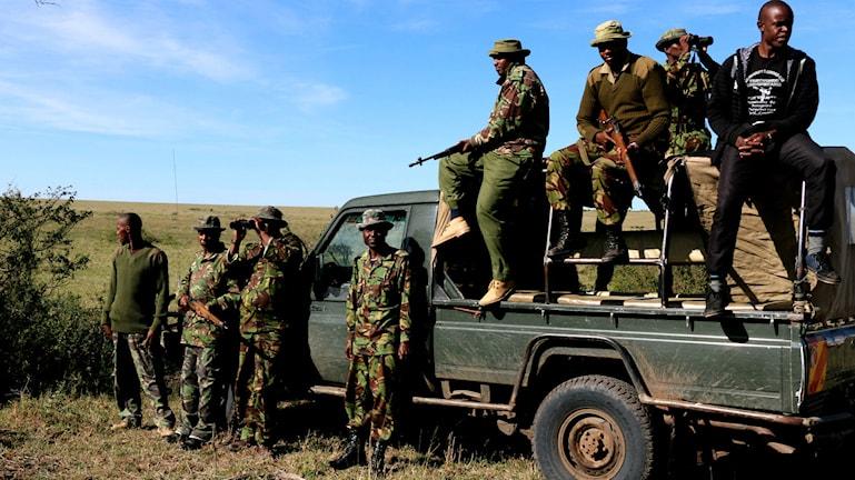 Åtta beväpnade män står framför och på flaket till en pickup.