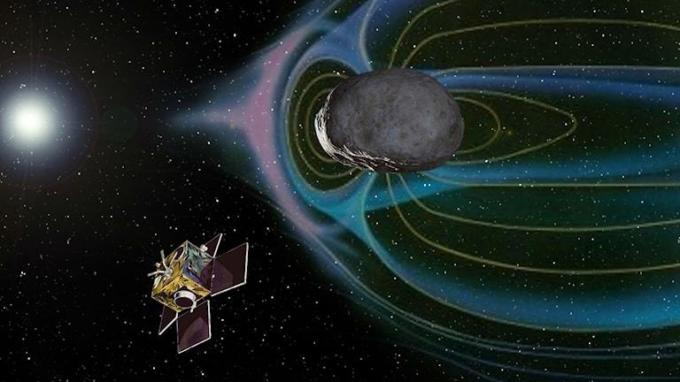 Den tänkta mikrorymdfarkosten som skulle åka till den metalliska asteroiden 16 Psyche. Illustration: Privat