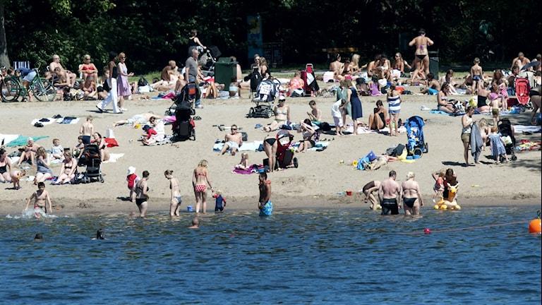 En badstrand med en massa badande och solande människor. Vit sand, sol och blått hav.