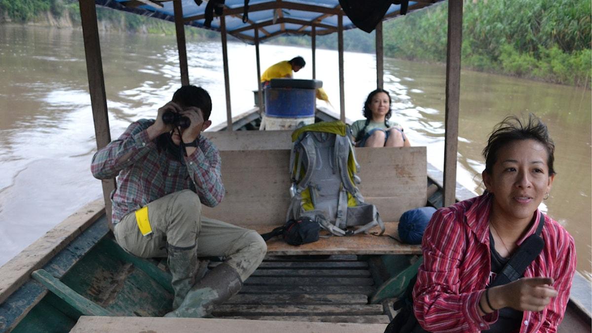 Biologerna Patricia Alvares-Loyaza, Marin Austad och Roxana Arauco. Foto: Marcus Hansson