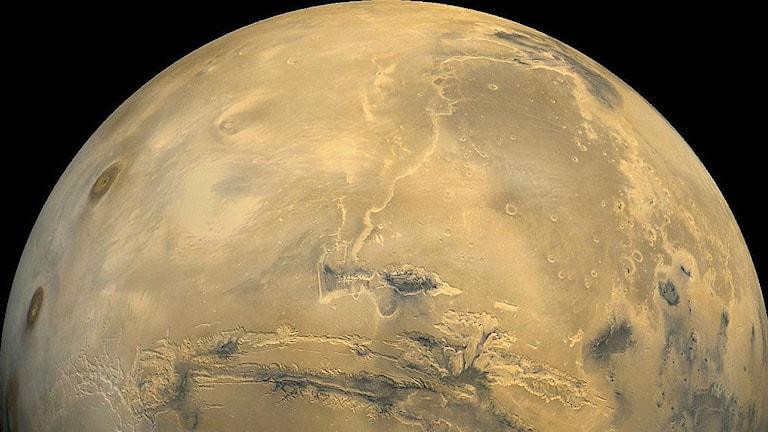 Gammal uttorkad floddal på Mars. Foto: NASA / USGS/Wikimedia commons Public domain