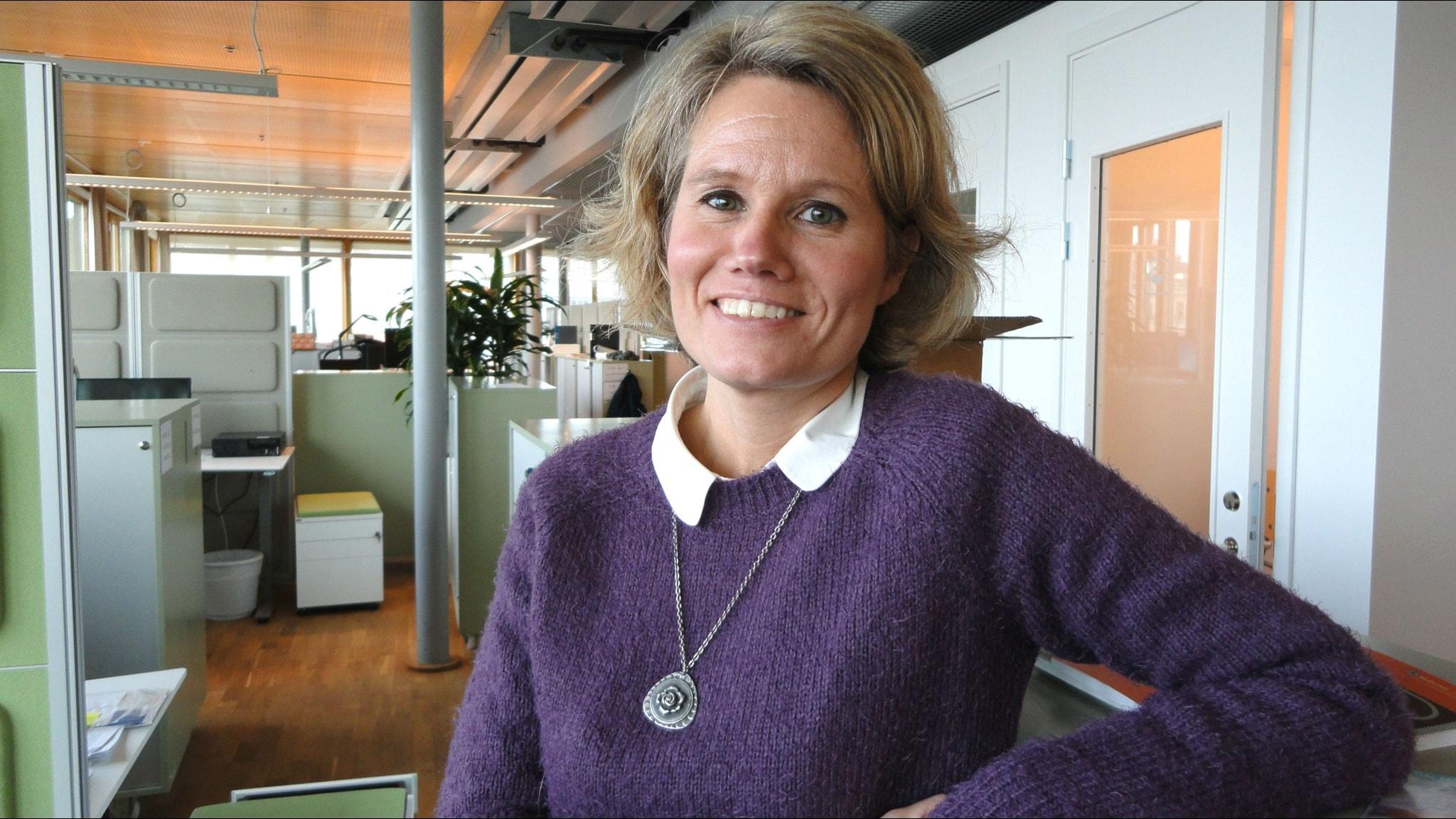 Pia Steensland på kontoret i Stockholm.