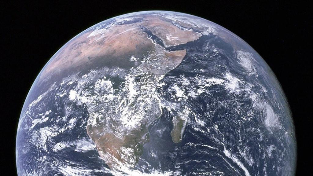 Jorden från rymden. Foto: NASA/Apollo 17 crew/Wikimendia commons, Public Domain