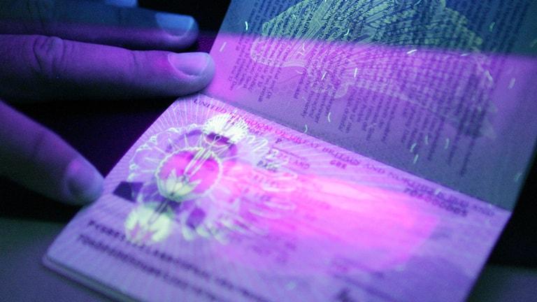 Ultraviolett genomlysning av pass