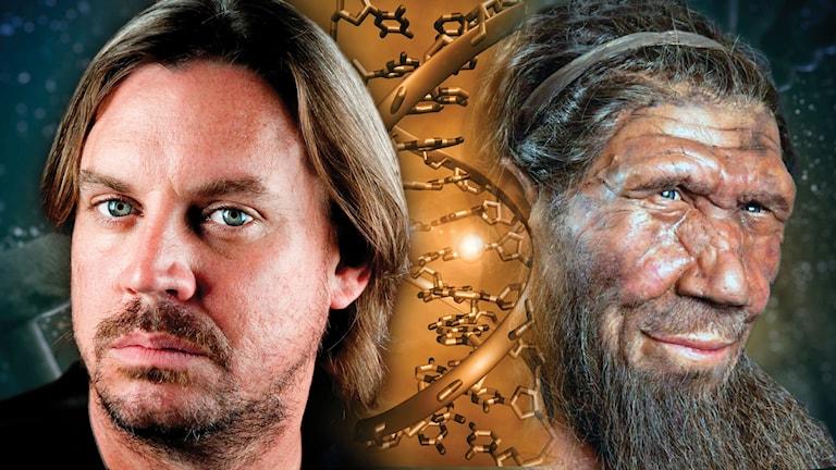 En datorredigerad bild på ett människoansikte till vänster, en DNA-sträng i mitten, och ett neandertalsansikte till höger.