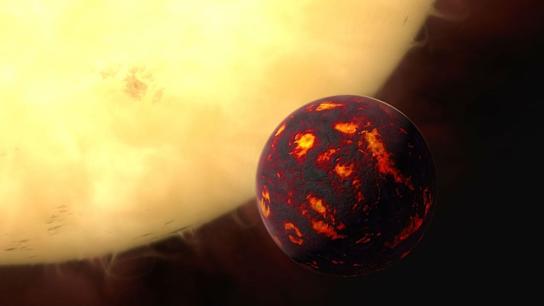 Illustration om hur superjorden 55 Cancri E kan se ut.