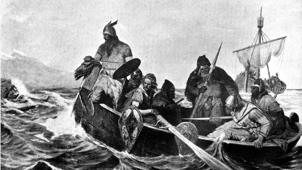 En svartvit målning föreställande sex stycken norska vikingar en roddbåt.