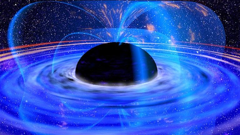 En illustration på ett svart hål.