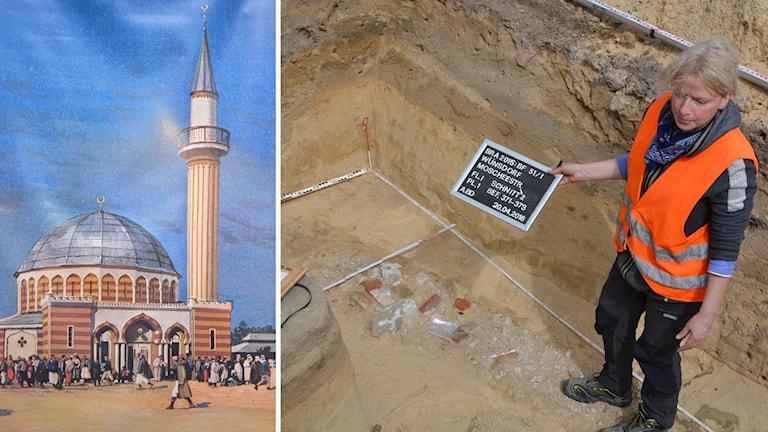 bild på moské och utgrävning