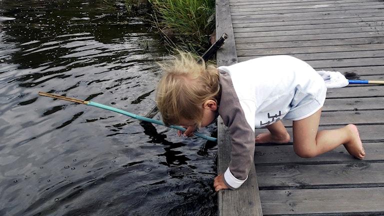 Ett barn vid en brygga.