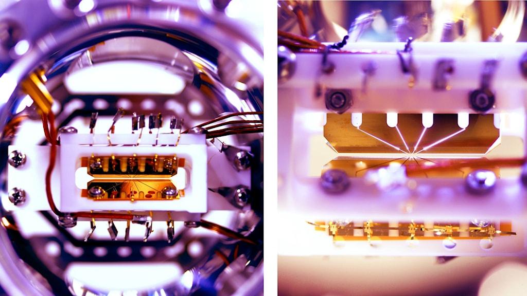 Två bilder av en kvantdators inre.