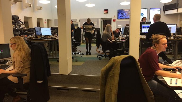 Kontor med cirka tio medarbetare som går, står och sitter framför datorskärmar och pratar med varandra och i telefon. Två blonda kvinnliga medarbetare vid sina datorer i förgrunden.