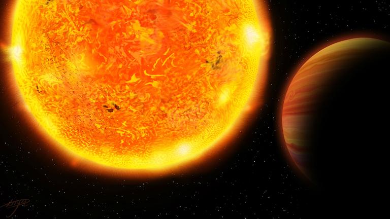 En konstnärs bild av hur stjärnan och planeten i stjärnsystemet HD 102956 kan se ut.