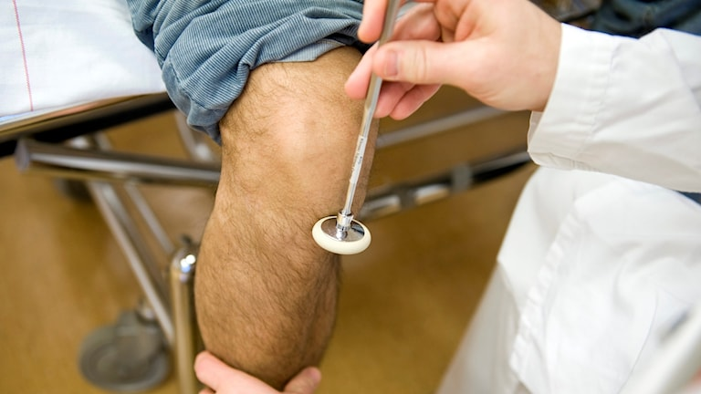 En läkare kontrollerar reflexen på en patients knä.