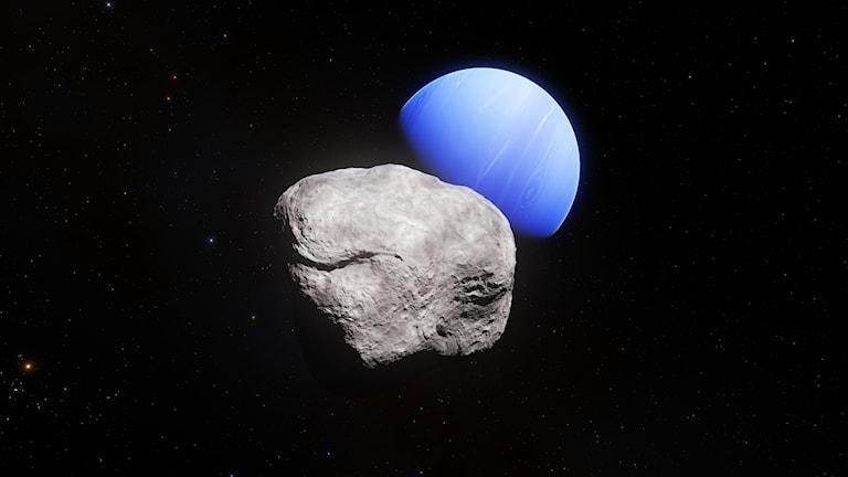 En illustration av Neptunus och den nyupptäckta månen Hippocamp.