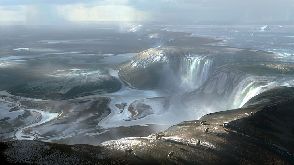 En konstnärs bild av hur det ha sett ut när enorma vattenfall flödade över den tidigare landbryggan som fanns mellan England och Europa.
