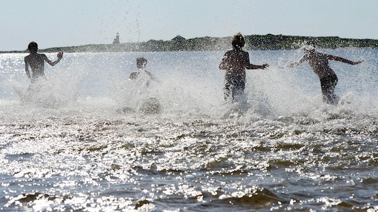 Fyra barn springer ut i havet, vatten stänker.