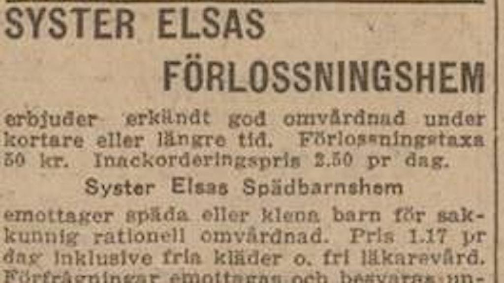En tidningsannons där en syster Elsa erbjuder plats i sitt förlossningshem.