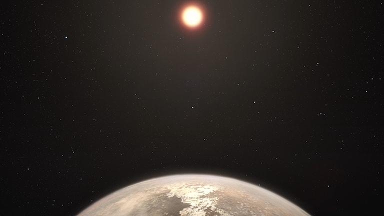 planetyta i förgrunden, dvärgstjärna i bakgrunden