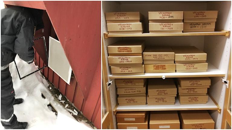 Bildkollage. Till vänster en vakt byter ut filtret på luftfilterstationen i Umeå. Till höger ett skåp fyllt med luftfilter som ska analyseras efter DNA.