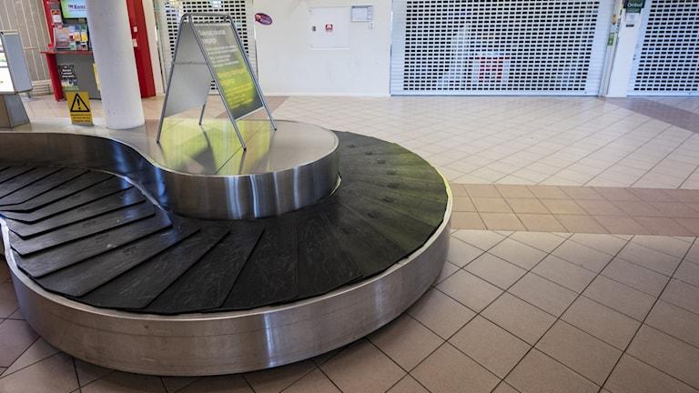 Öde bagagehall på flygplats i Malmö.
