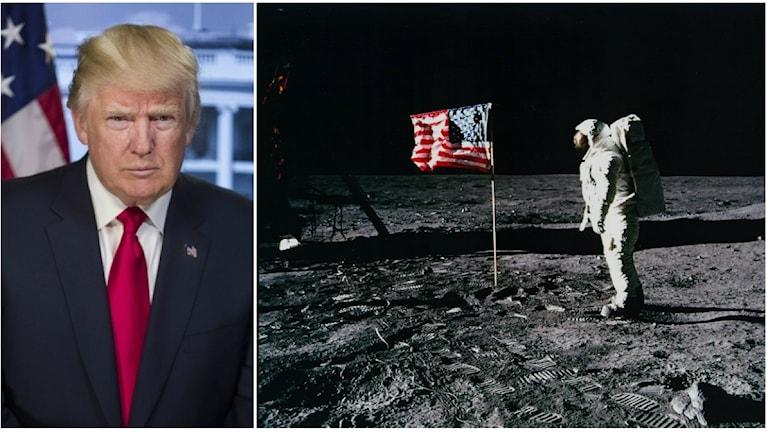Kollage av Donald Trump till vänster, och Buzz Aldrin på månen till höger.
