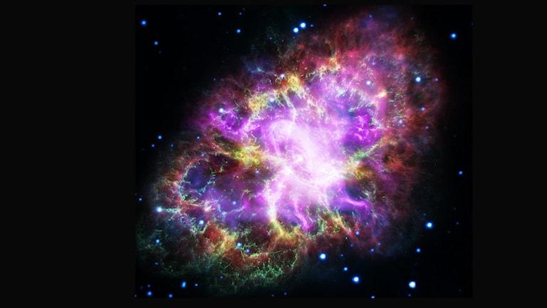 Bild på färgglatt moln av gas-och rymdstoft som ser ut lite manetformad ut.