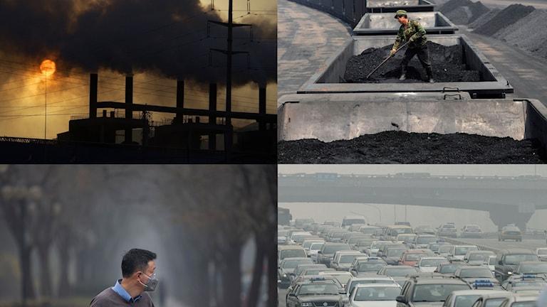 Bildkollage utsläpp, kolgruvor, smog