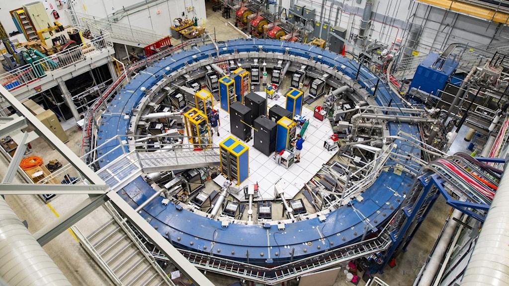 Partikelacceleratorn är en cirka fjorton meter lång blå cirkel.