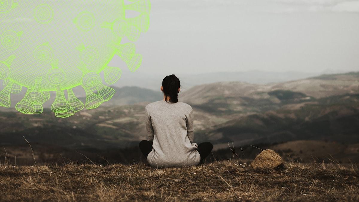 En kvinna med brunt hår som sitter på ett berg med ryggen mot kameran. Hon blickar ut över ett berglandskap.