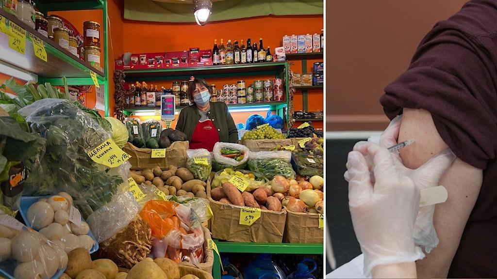 Snezhanka sitter omgiven av frukt i sin butik i Sofia i Bulgarien. Hon tänker inte vaccinera sig mot covid-19