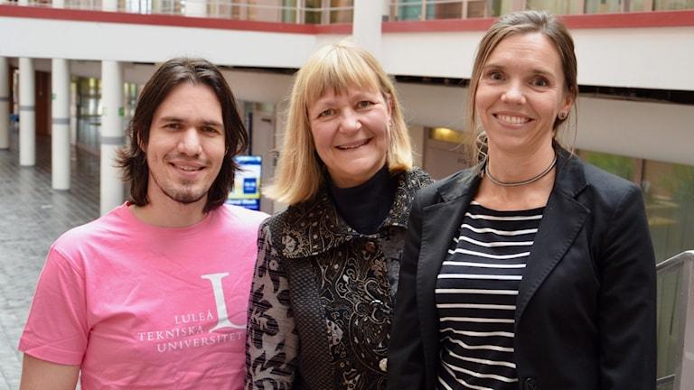 Marcus Liwicki, professor i maskininlärning, Catrine Kostenius, professor i hälsovetenskap, och Karolina Parding, professor i arbetsvetenskap. De deltar alla i det nya projektet.