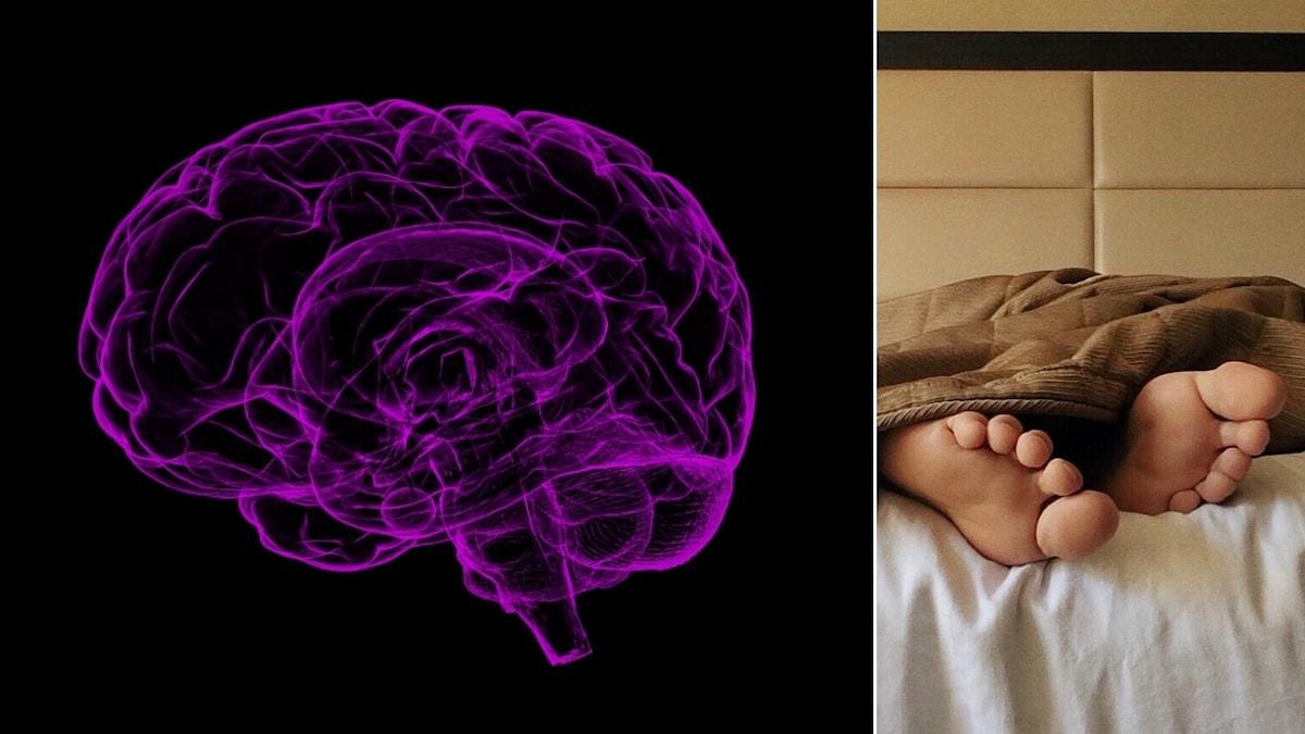 En illustration av hjärnan och en bild på ett par fötter som sticker ut under täcket.