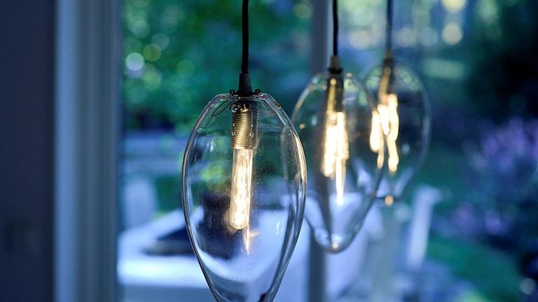 Tre lampor på rad