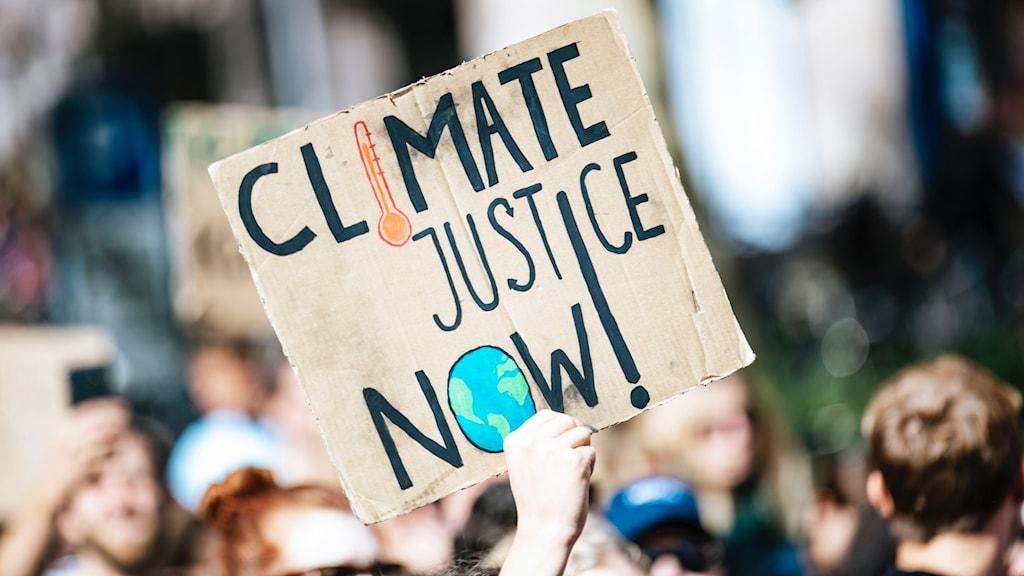 Folk protesterar mot klimatförändringarna.