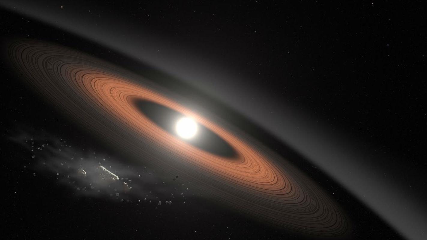 Märkliga ringar omger vit dvärgstjärna