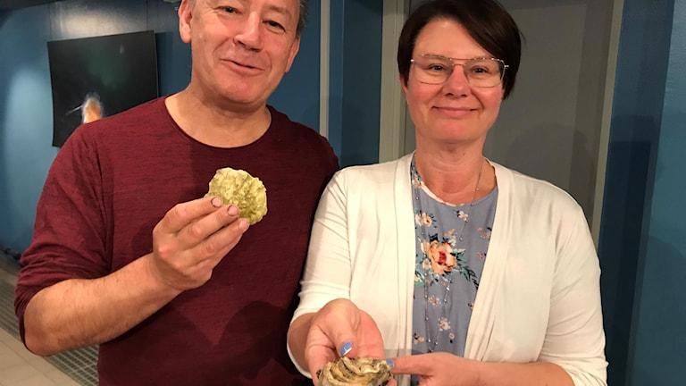 En man står till vänster och håller upp ett platt runt ostron. Intill honom till vänster står en kvinna och håller fram ett avlångt ostron. Båda ler och tittar mot kameran.