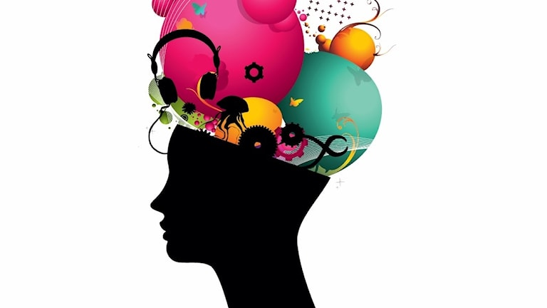 Animerad bild på huvud med en massa fantasifulla saker och färger på huvudet.