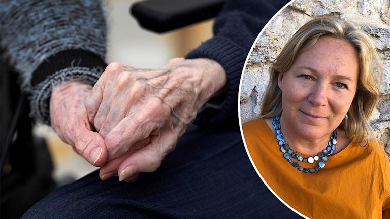 Delad bild. Till vänster ett par äldre händer som håller i varandra. Till höger Lotta Dellve.