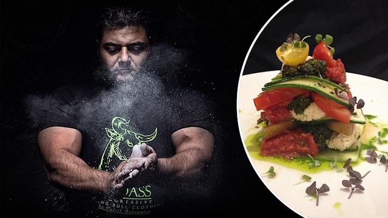 Tvådelad bild: till vänster man med svart t-shirt och muskulösa biceps slår ihop händerna med ett vitt dammoln som följd. Till höger: prydligt upplagd hög med tillagade grönsaker.